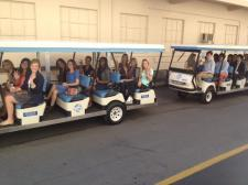 We got to ride around in these nifty carts :)