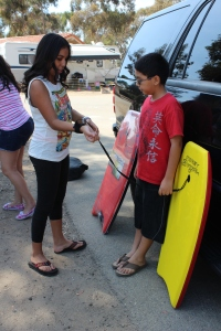 Teaching how to Boogie Board